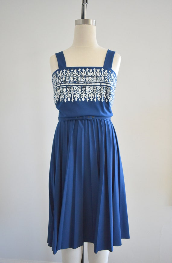 1970s Alfred Shaheen Navy Knit Sundress - image 3