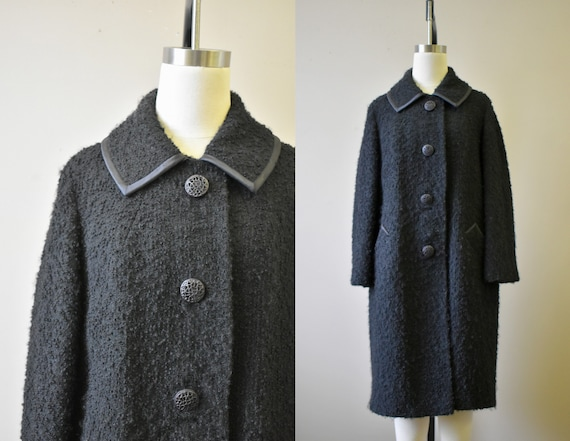 1960s Forstmann Black Wool Boucle Coat