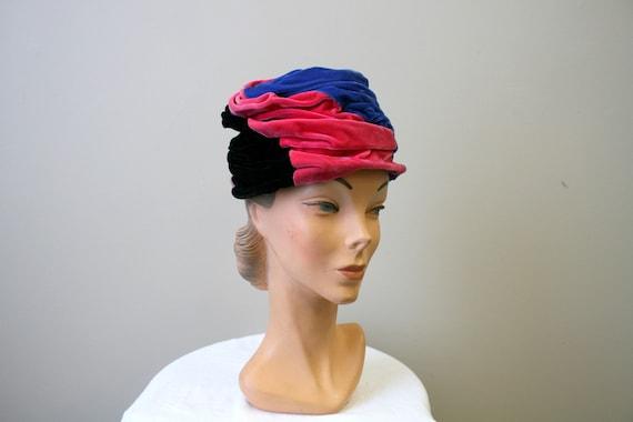 1940s Colorblock Velvet Toque Hat