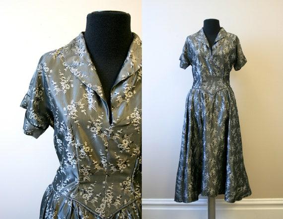 Late 40s/Early 50s Gunmetal Brocade Dress