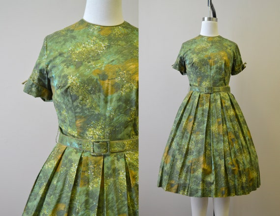 1950s Autumn Print Cotton Day Dress