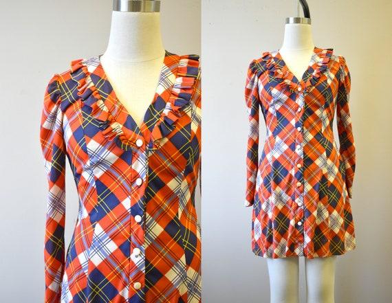 1970s Orange Plaid Mini Dress - image 1