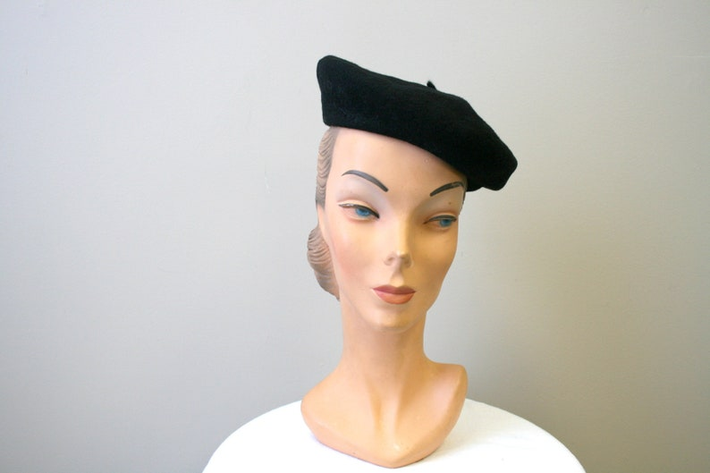 db68d51dbfd15 Vintage Black Basque French Beret Size 6 3 4
