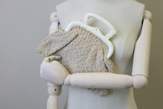 1930s Pastel Crochet Purse with Plastic Handles