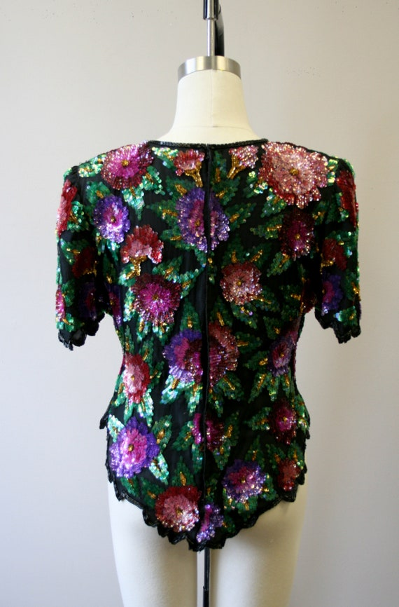 1980s Sequined Floral Blouse - image 5