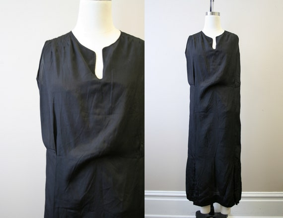 1920s Black Drop Waist Dress