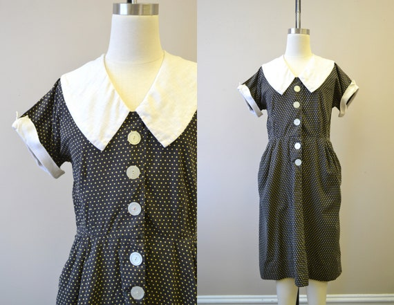 1940s Star Print Cotton Dress