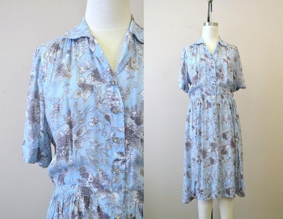 1940s Eve Carver Blue Floral Sheer Jersey Dress