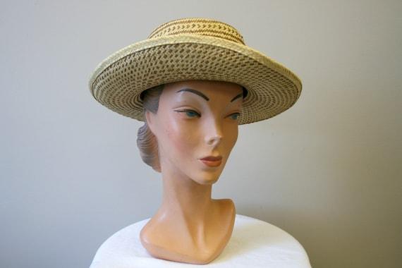 1960s Two Tone Wide Brim Straw Hat - image 3