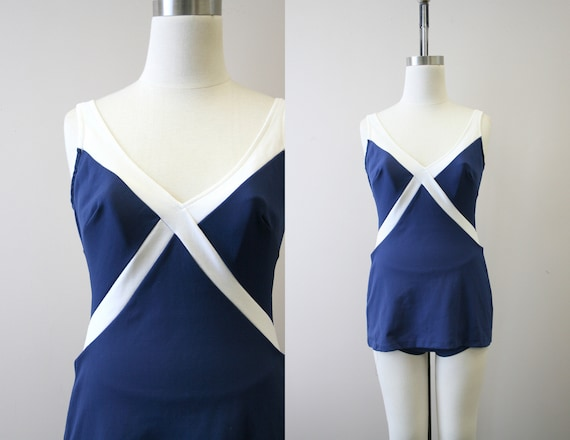 1960s Robby Len Navy and White Swimsuit