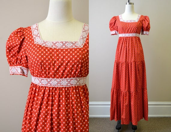 1970s Red Calico Tiered Maxi Dress