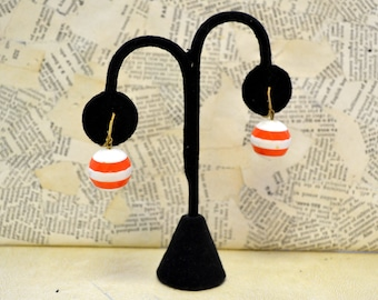 1960s Orange and White Stacked Ball Clip Earrings