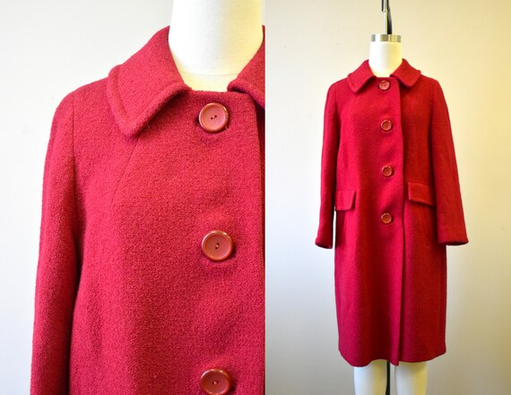 1960s Red Wool Boucle Coat