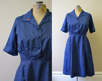 1960s Navy Shirtwaist Dress