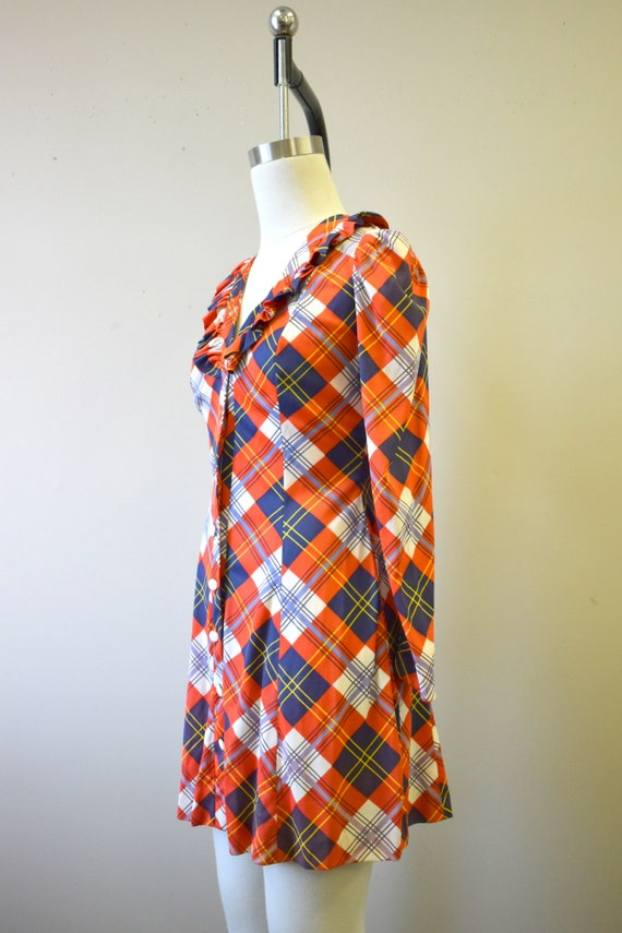 1970s Orange Plaid Mini Dress - image 4