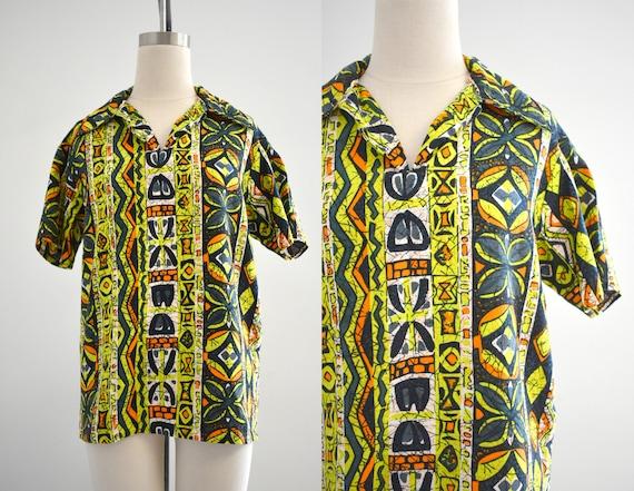 1950s/60s Tiki Barkcloth Men's Shirt - image 1