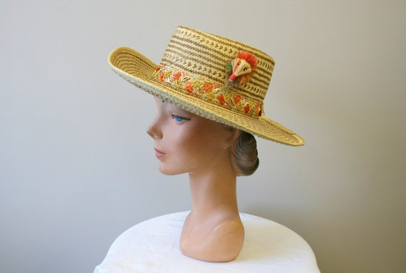 1960s Two Tone Wide Brim Straw Hat
