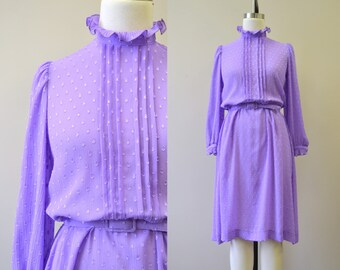 1970s Sheer Purple Dot Dress