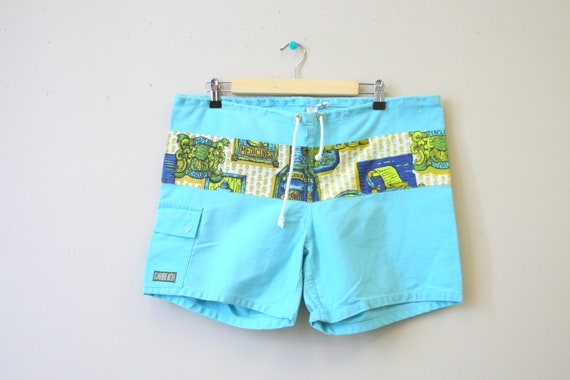 1970s Caribeach Turquoise Swim Trunks