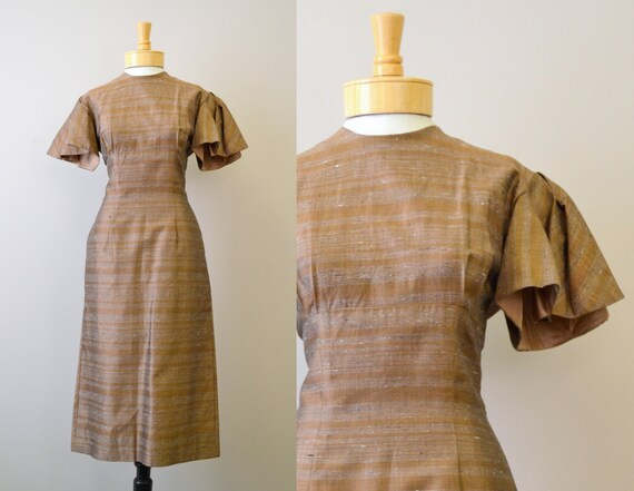 1940s Miss Jane Junior Coppery Flutter Sleeve Dres