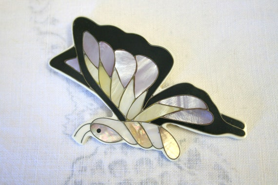 1970s Huge Butterfly Inlay Brooch