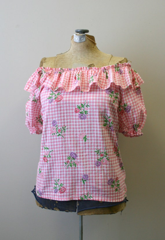 1950s Pink Gingham and Floral Two Piece Skirt Set - image 3