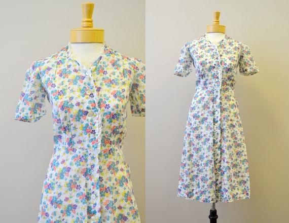 1940s Floral Voile Dress