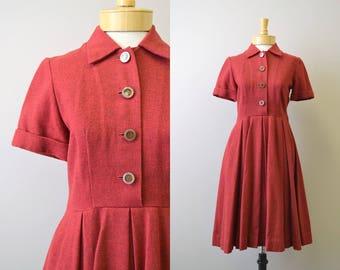 1950s Red Wool Shirtwaist Dress