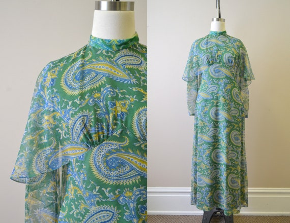 1970s Green Paisley Chiffon Maxi Dress