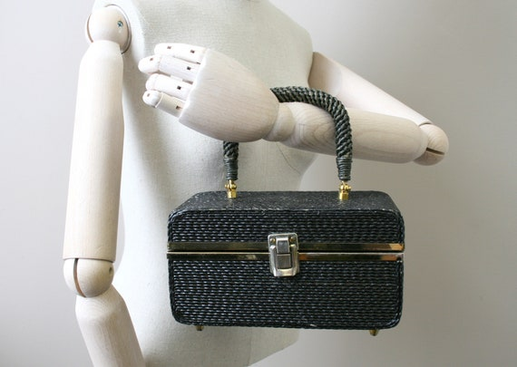 1950s Forsum Black Straw Box Purse