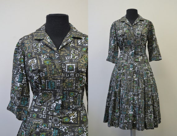1950s Craely Polynesian Batik Dress