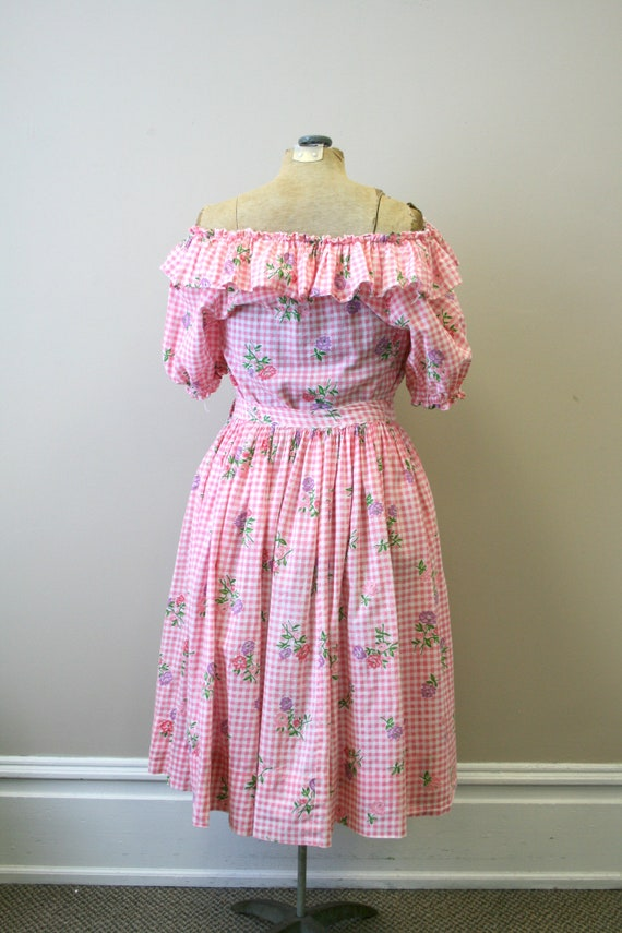 1950s Pink Gingham and Floral Two Piece Skirt Set - image 9