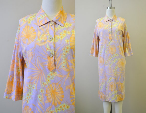 1990s Averardo Bessi Tropical Print Shirt Dress
