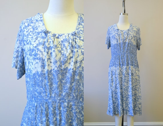1940s Blue Floral Jersey Dress
