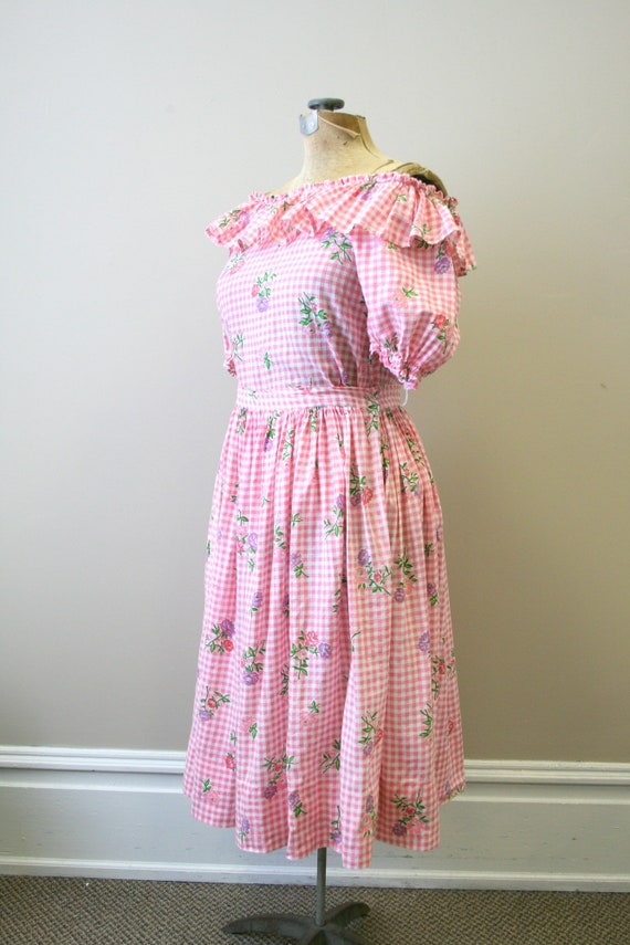 1950s Pink Gingham and Floral Two Piece Skirt Set - image 8