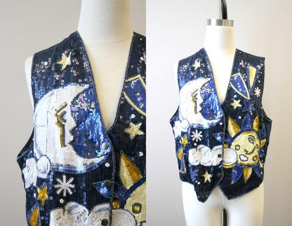 1990s Celestial Sequin Vest