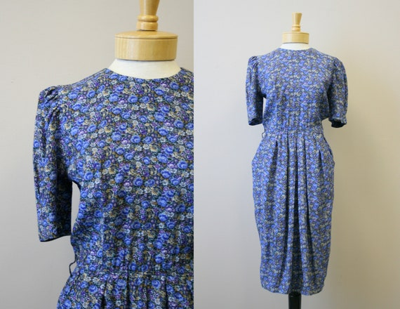 1980s-does-1940s Blue Floral Rayon Dress