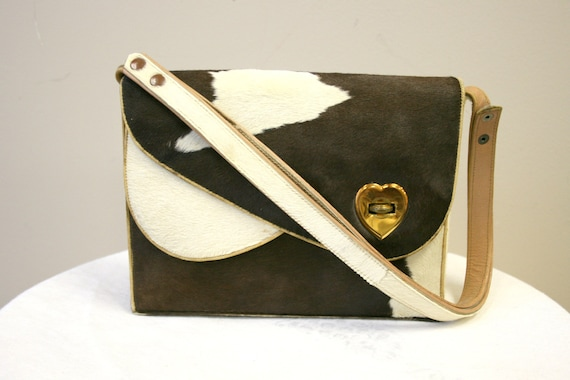 1940s Pony Skin Purse with Heart Latch