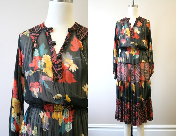 1970s Adini Floral Chiffon Tiered Midi Dress