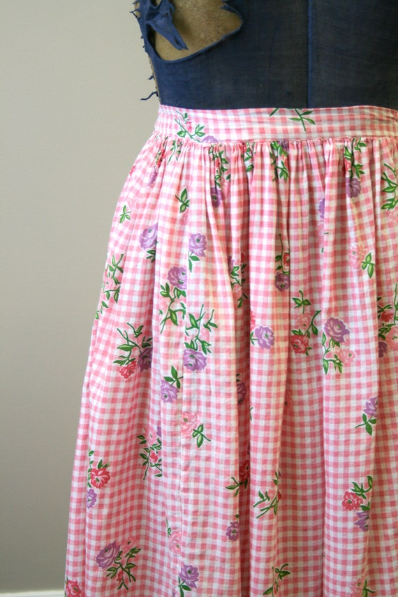 1950s Pink Gingham and Floral Two Piece Skirt Set - image 5