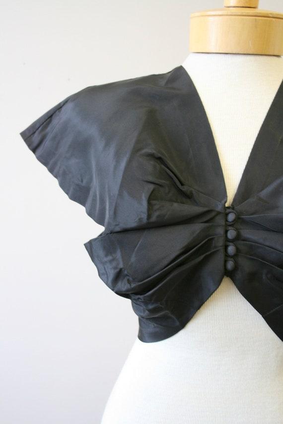 1940s Black Taffeta Bolero - image 2
