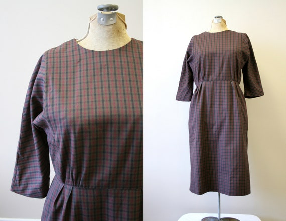 1960s Brown Checked Cotton Dress