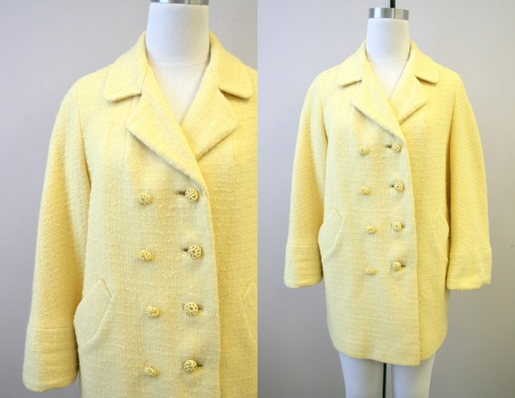 1960s Yellow Wool Boucle Coat