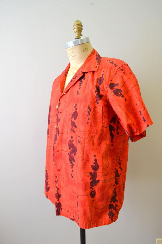 1950s Kamehameha Red Cotton Hawaiian Shirt - image 2