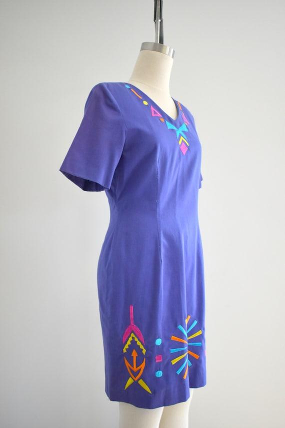 1990s Purple Geometric Embroidered Dress - image 4