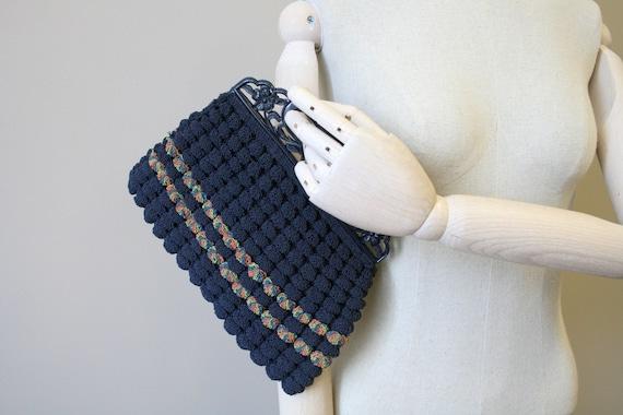 1930s Navy Crochet Handbag