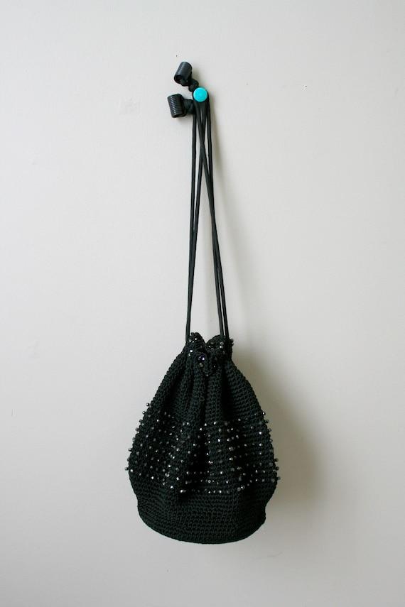 1930s Black Beaded Crochet Drawstring Purse - image 2