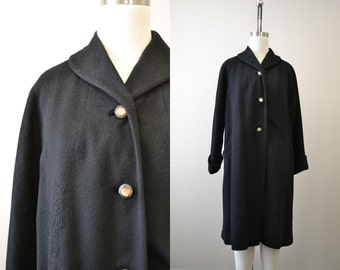 1950s Black Wool Coat with Trapunto Design