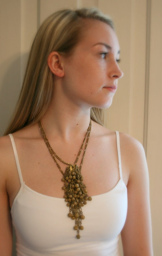 1930s Miriam Haskell Brass Dangle Necklace - image 2