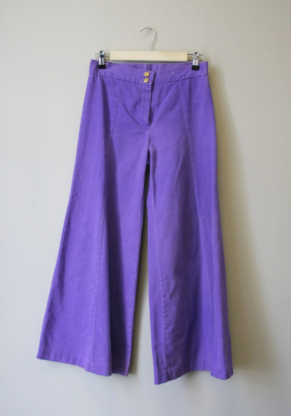 1970s Purple Denim Bell Bottoms - image 2